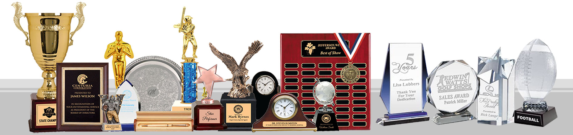 collage of different awards, trophies and plaques in different sizes and colors. Cup trophies, sports trophies, perpetual plaque, clocks, eagle awards, star awards, crystal awards and glass awards, and medals.
