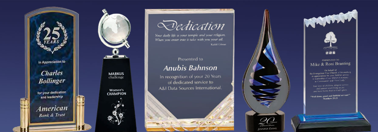 Banner showing different types of glass, crystal, and acrylic awards