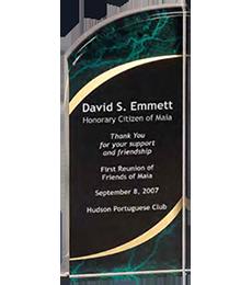 green and gold rectangular award