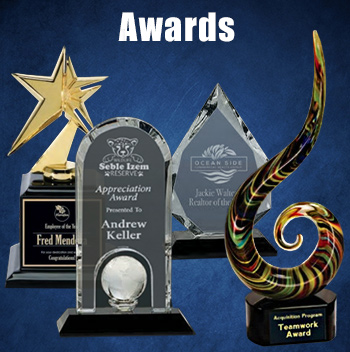 Art glass, crystal, and acrylic awards to thank someone special.