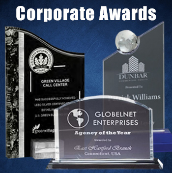 Acrylic and glass corporate awards for employee recognition