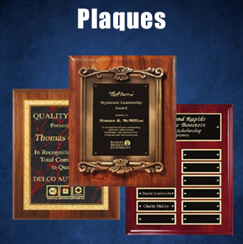 Many styles and colors of commemorative plaques.