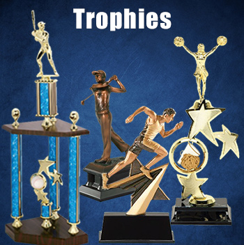 Many different custom trophies for winning sports teams and athletes